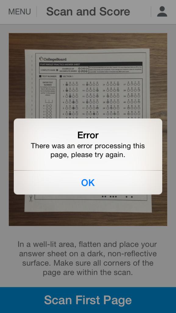 SAT Scan and Score Error
